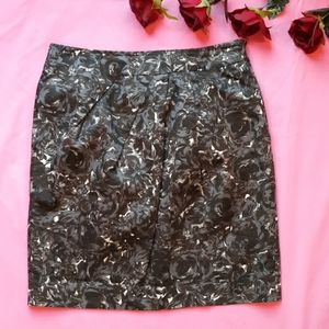 Loft Ann Taylor Dark Floral Pencil Skirt